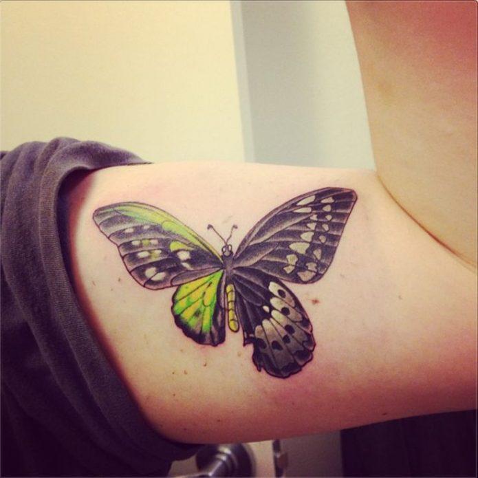 татуировка бабочка, тату на бицепсе для девушек