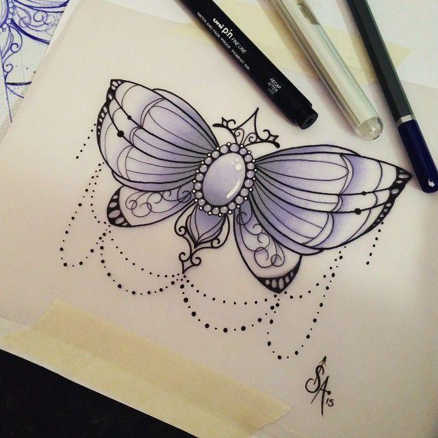 красивый эскиз бабочка с узором, эскизы для девушек