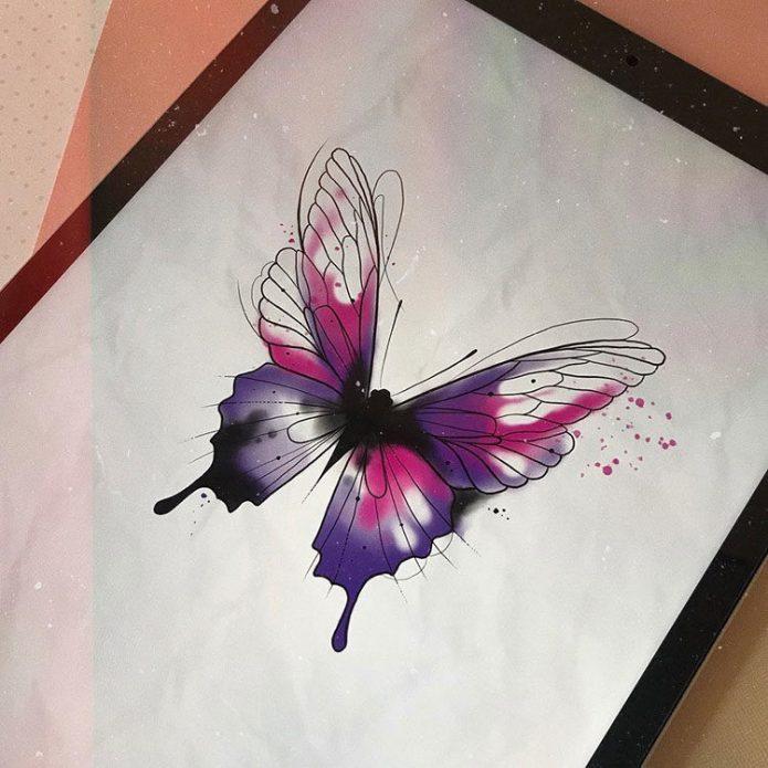 красивый эскиз для девушек, тату бабочка акварель