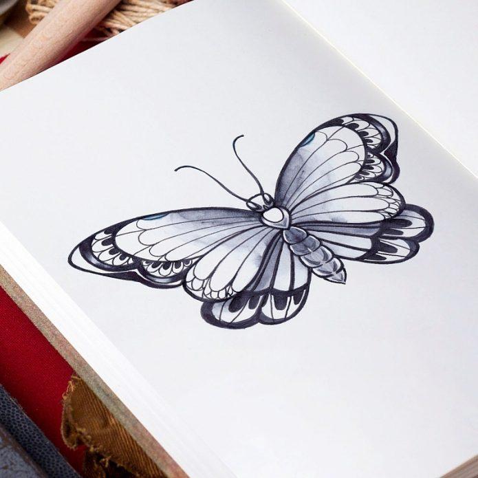 эскиз чб бабочка, женские эскизы