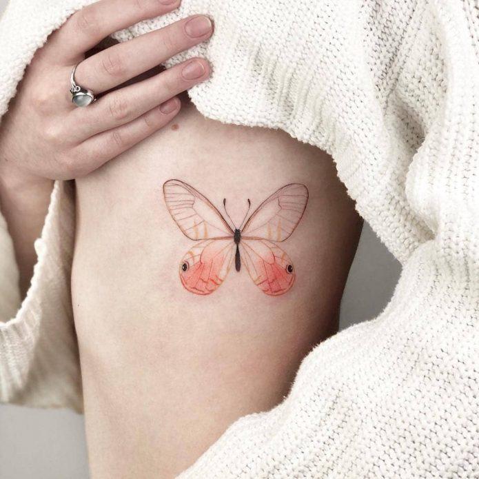 тату на рёбрах бабочка, красивые тату идеи для девушек