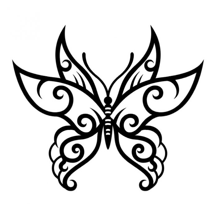 эскиз чб бабочка, небольшое тату
