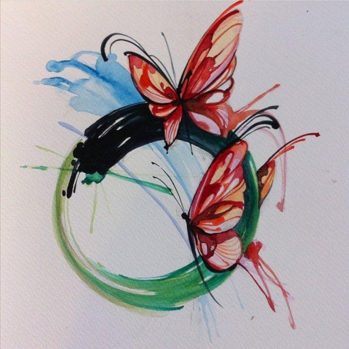 красивый эскиз бабочки, цветные эскизы бабочек