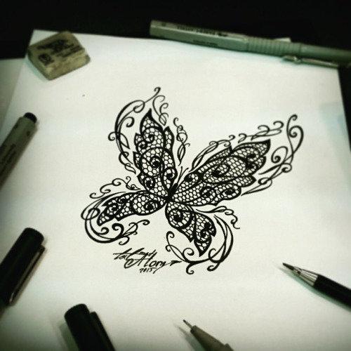 эскиз бабочка кружево чб