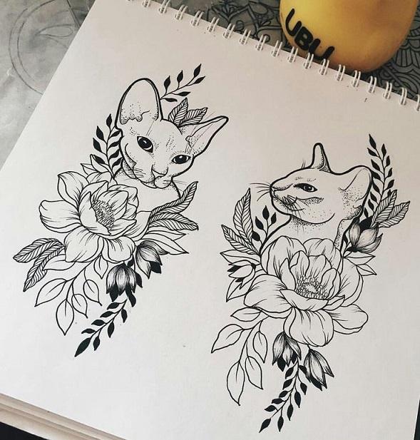 Эскиз цветов и кошки