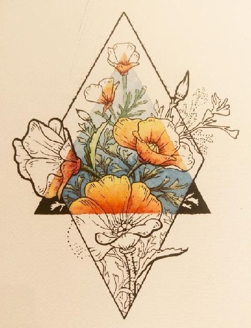 Эскиз цветок в треугольнике
