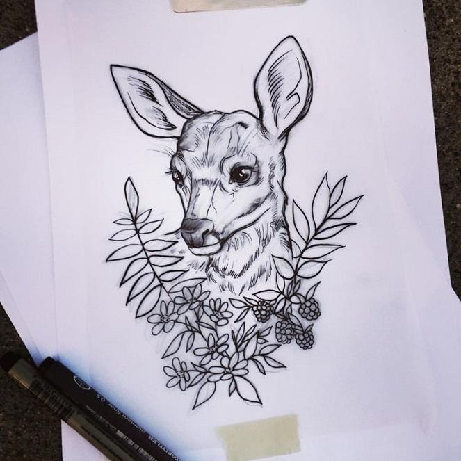 Эскиз оленёнка