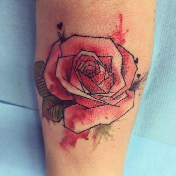 тату роза акварельная, тату на руке