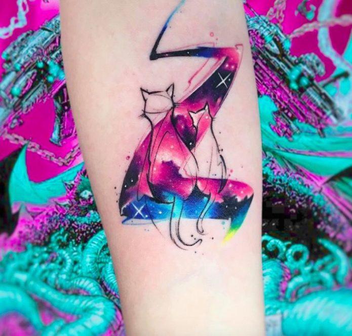 акварельный котик, мини татуировка