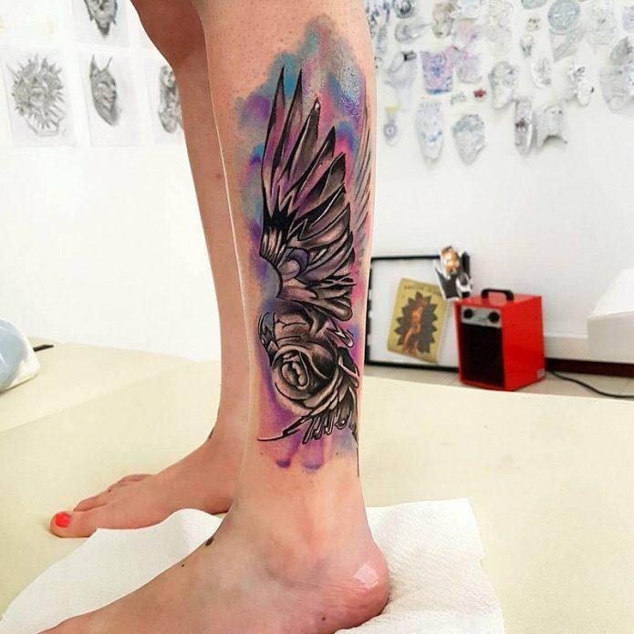 акварельный эскиз, тату на лодыжке крылья