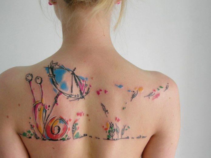 интересное тату на спине, эскизы акварель для девушек