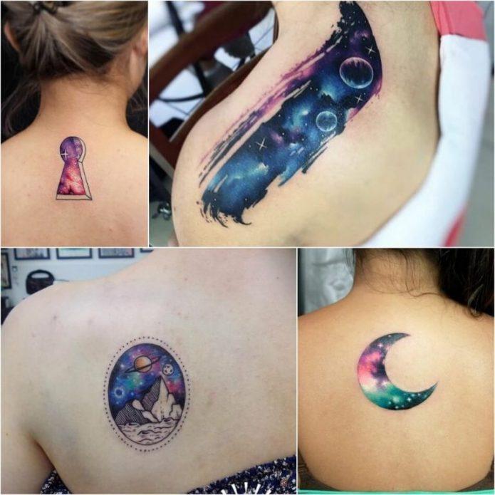 акварельные татуировки про космос, коллаж