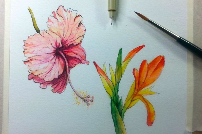 эскиз для женщин, акварельные цветы