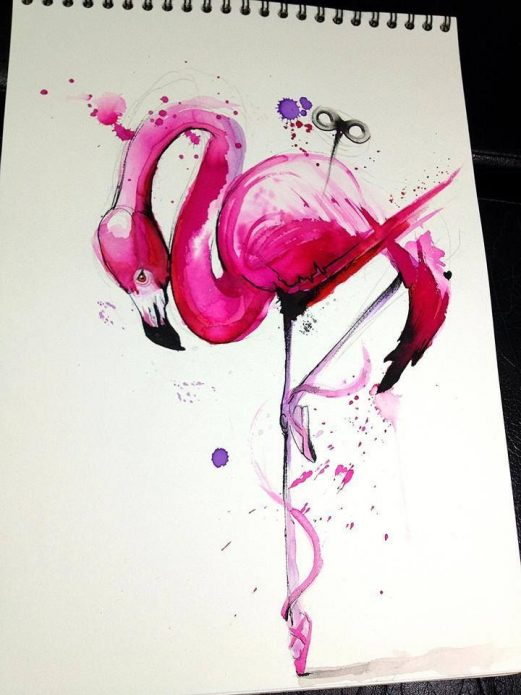 фламинго, эскиз для татуировки