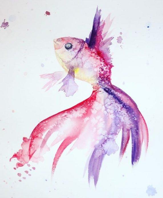 рыбка, эскиз акварельный