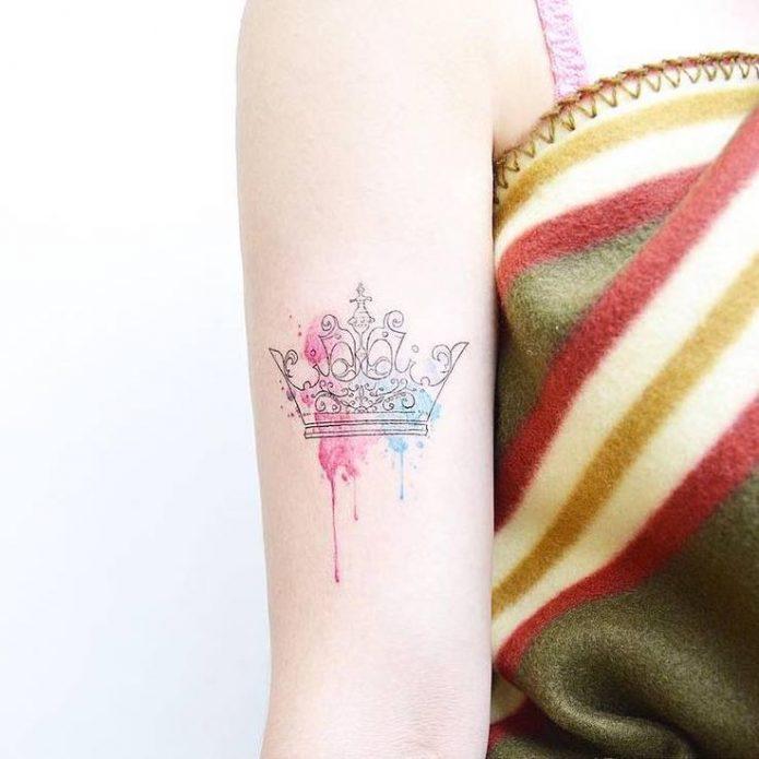 тату для девушек, тату корона акварельная