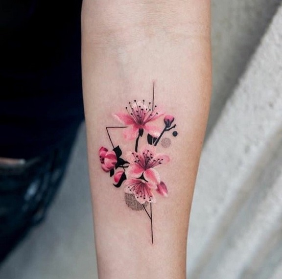 Цветы розовые в стиле минимализм