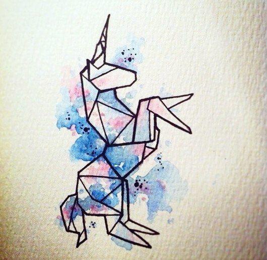 эскиз оригами единорог, модные эскизы для девушек