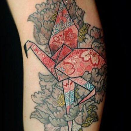 тату оригами и с орнаментом птица