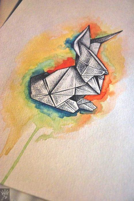 эскиз кролик оригами, эскизы для девушек
