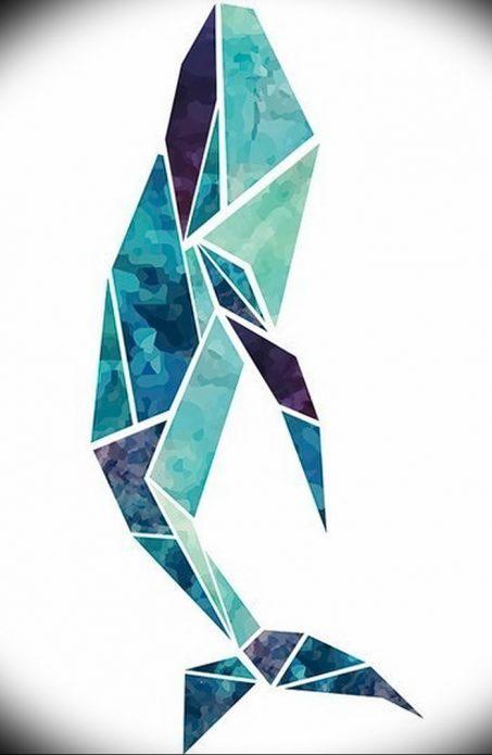 эскиз кит, тату оригами эскиз
