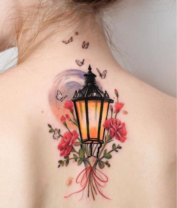 акварель, тату фонарь цветы бабочки, эскиз на спину
