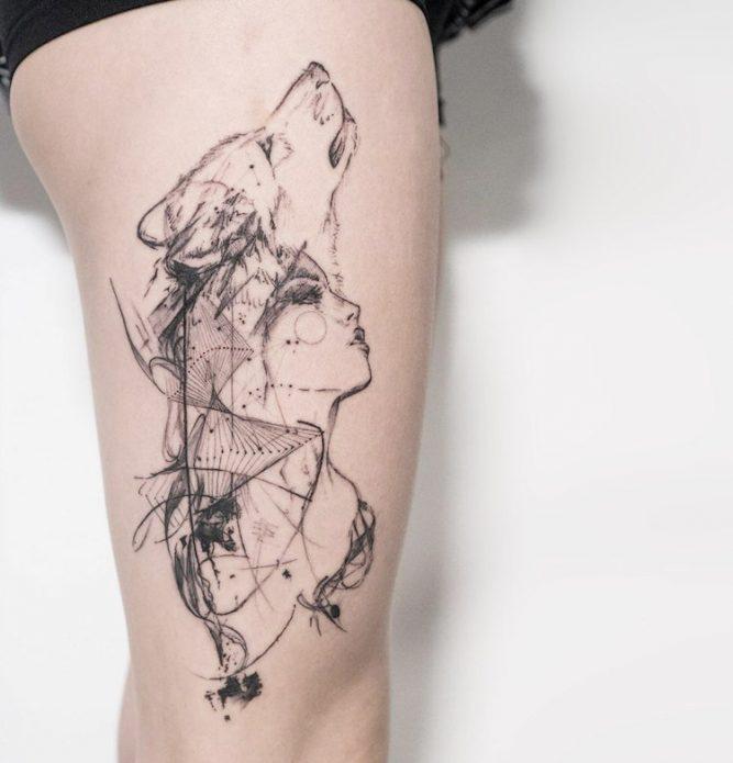 татуировка на бедре волк, эскизы для девушек чб