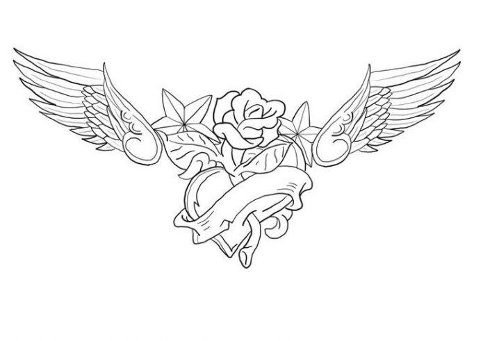 сердце, роза, крылья, эскиз на поясницу для девушек