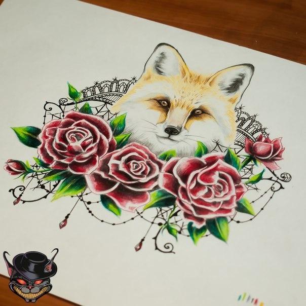 эскиз на пояснице лиса, цветные тату для девушек