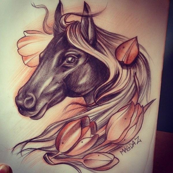 эскиз тату лошадь для девушек