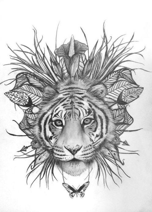 эскиз чб тату тигр, женские эскизы на поясницу