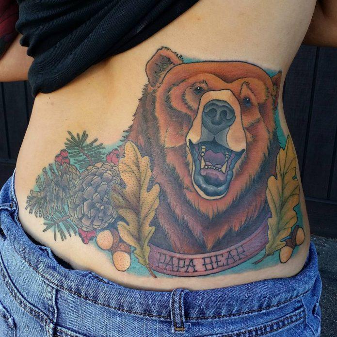 тату медведь олдскул, татуировка на пояснице сбоку ньюскул