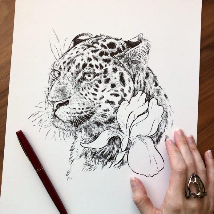 эскиз леопард и цветок, тату реализм для девушек