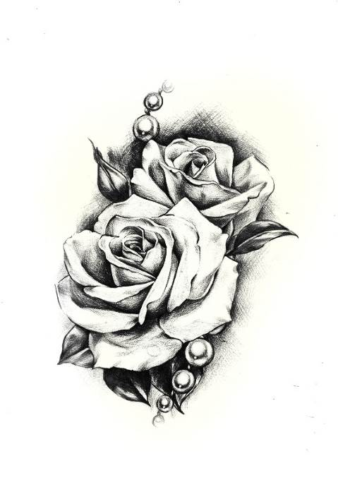 эскиз розы на грудь, женский чб эскиз для груди цветы