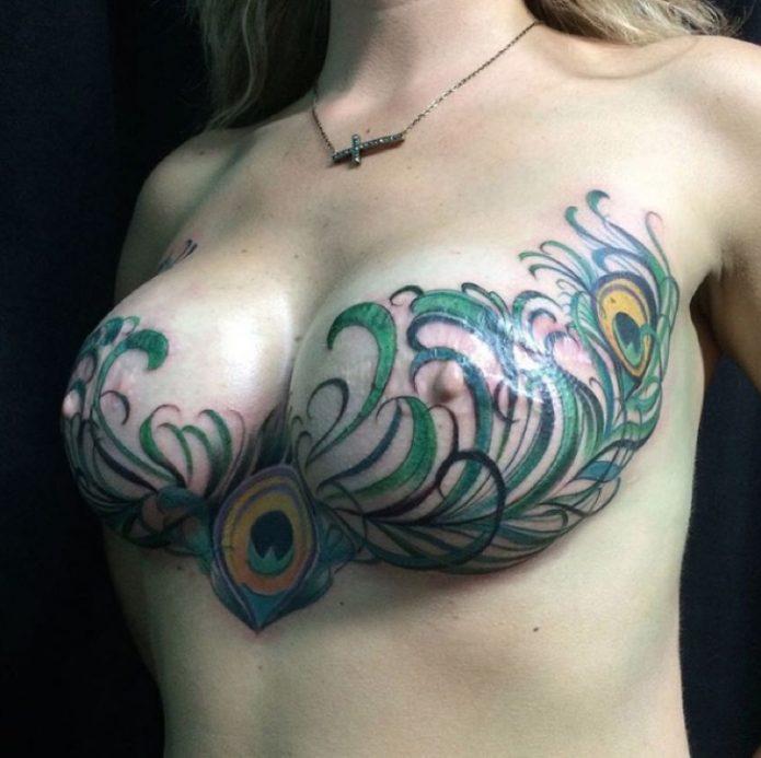 красивая татуировка на всю грудь, женские тату