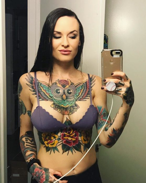 тату сова на груди, женский цветные татуировки