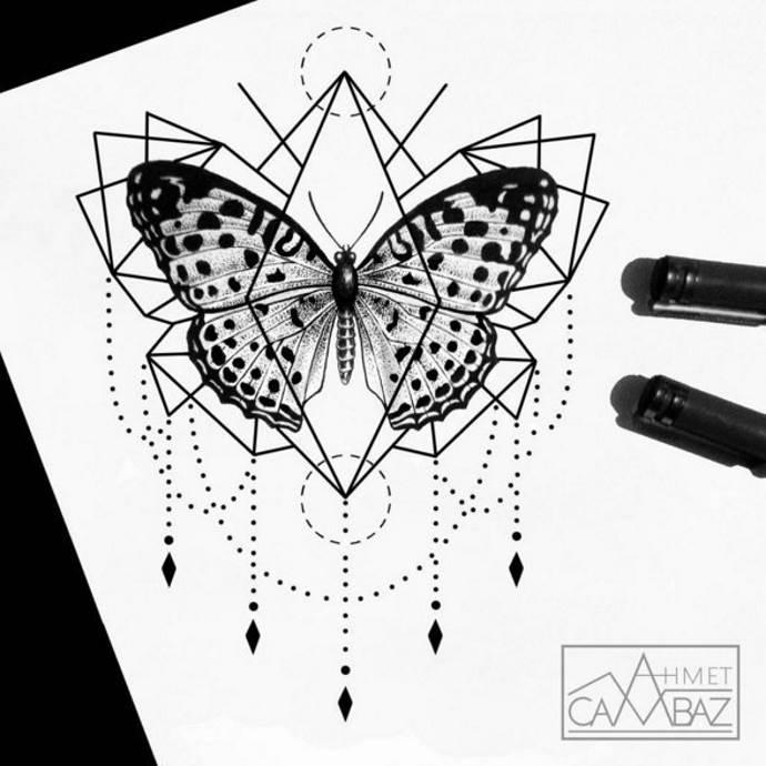 бабочка эскиз для груди чб
