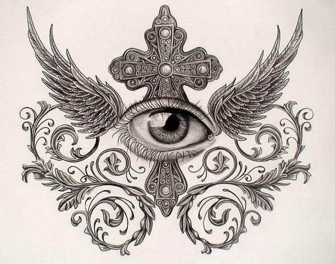 глаз и узоры, эскиз для груди