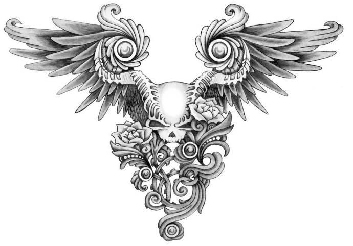эскиз крылья и череп, женские татухи на грудину