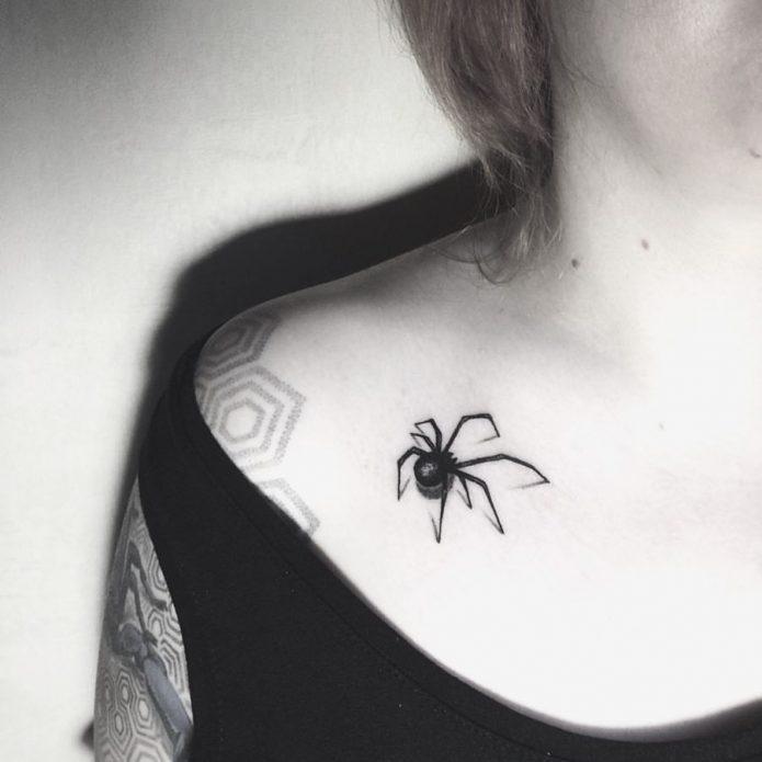 тату паук чб на ключице, женские эскизы паук