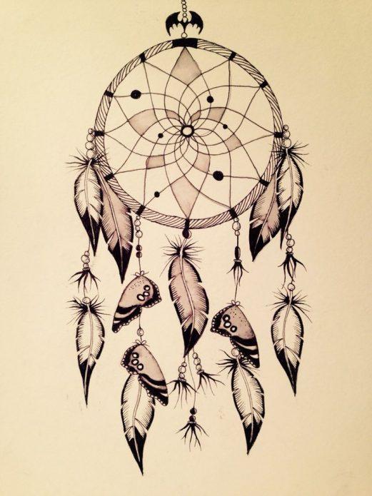 эскиз ловец снов с бабочками
