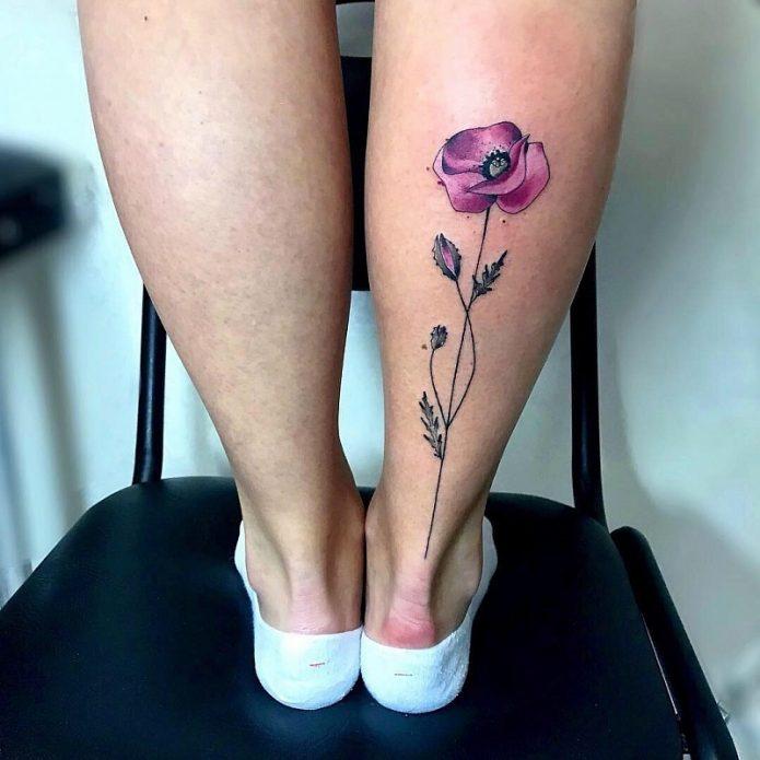 тату красивое на икре мак, утончённые татуировки