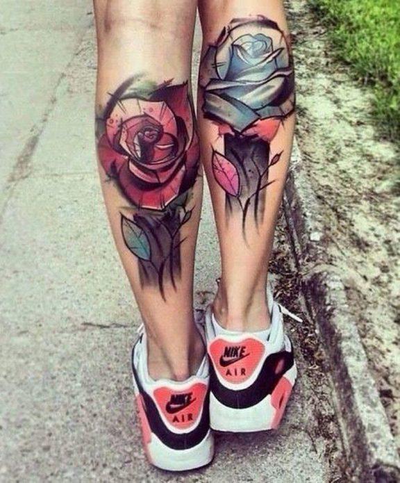 парные розы тату на икрах, модные эскизы