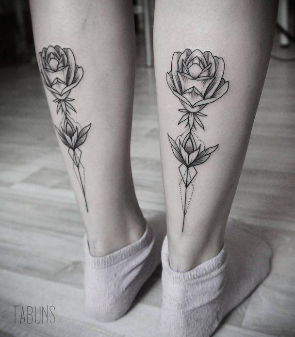 тату парное розы минимализм, эскизы на икры