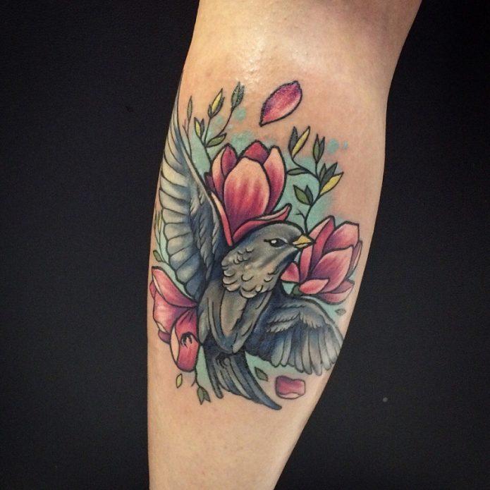 тату птица и цветы на искре, красивые эскизы
