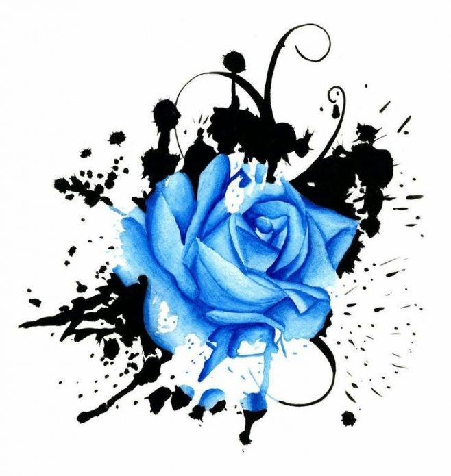 Эскиз синяя роза