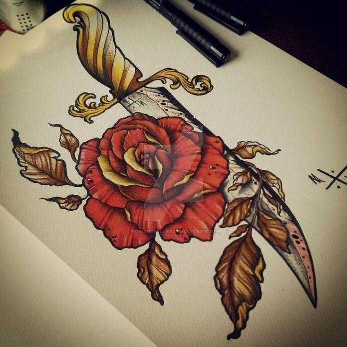 Эскиз роза с кинжалом