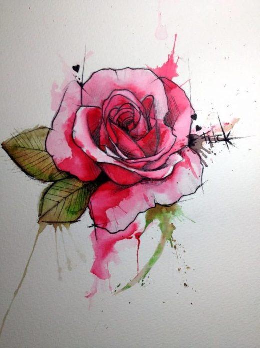 цветной эскиз на бумаге роза
