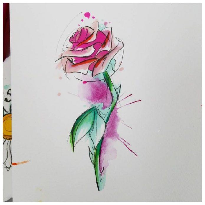 акварельный эскиз роза на рёбра