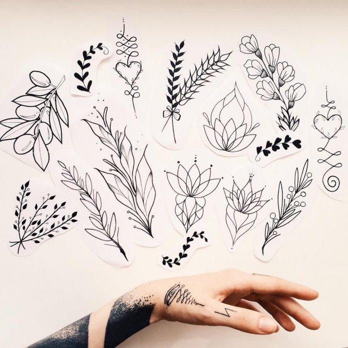веточки и цветки маленькие эскизы на бумаге